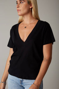 Cover The Basics V-Neck Tee: Black