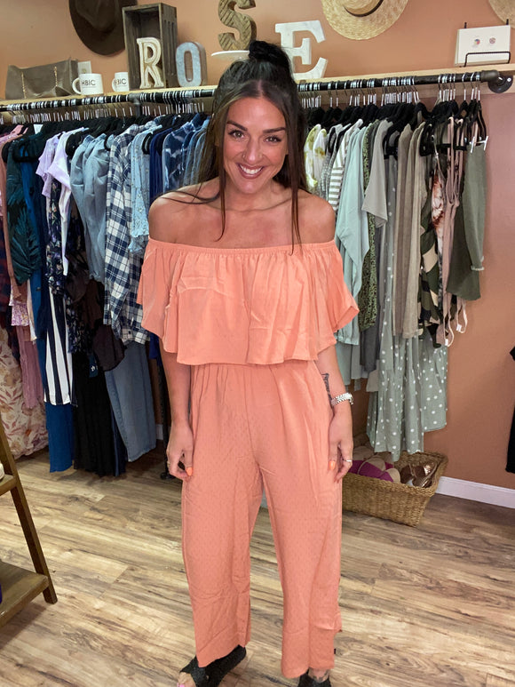 Smile, You're On Trend Strapless Smocked Jumpsuit- Dusty Coral