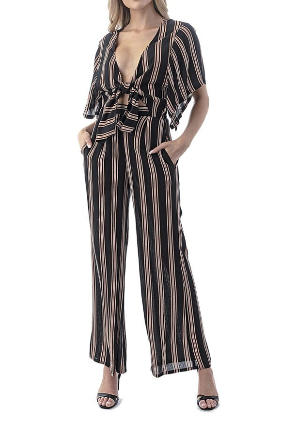 Emerson Striped Tie Jumpsuit