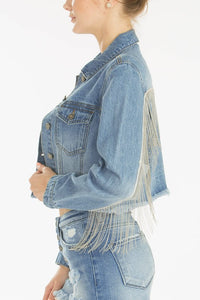 Outcast Cropped Fringe Denim Jacket