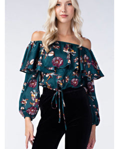 Candace Off The Shoulder Floral Top: Multiple Colors