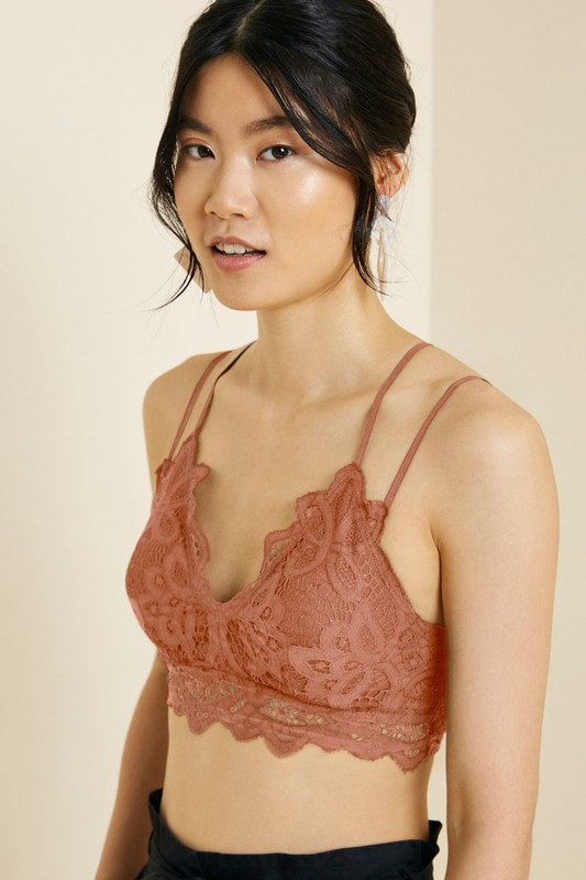 Soffy Lace Bralette in Dusty Coral FINAL SALE