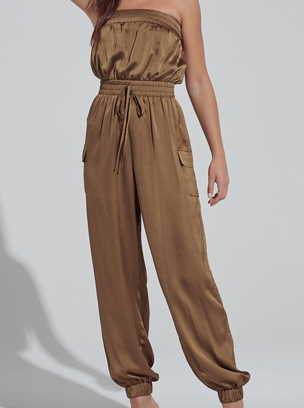 Step To It Strapless Pocketed Jumpsuit