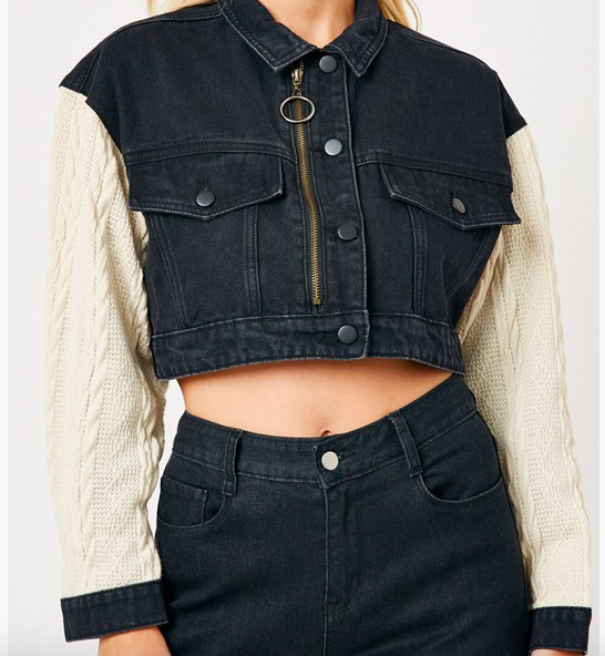Slash Knit Sleeve Cropped Jacket