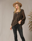 Southern Bell Leopard Print Lace Top