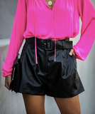 En Route Pocketed Faux Leather Shorts
