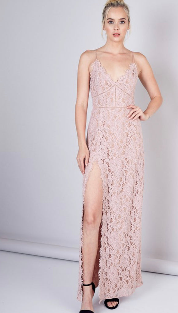 Use Your Wings Lace Slit Maxi Dress