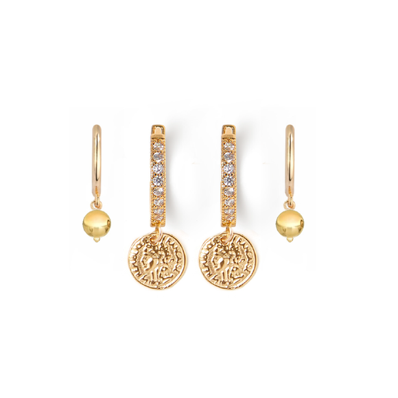 Coin + Gold Huggie Earring Set