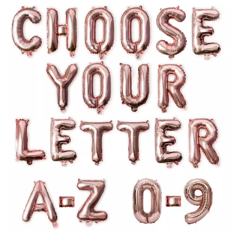 Rose gold Letters & number foil balloons