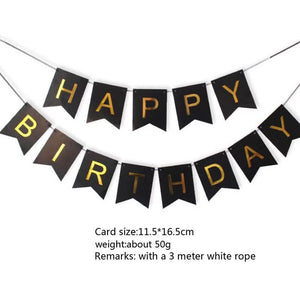 Happy Birthday Banner with Shiny Gold Letter