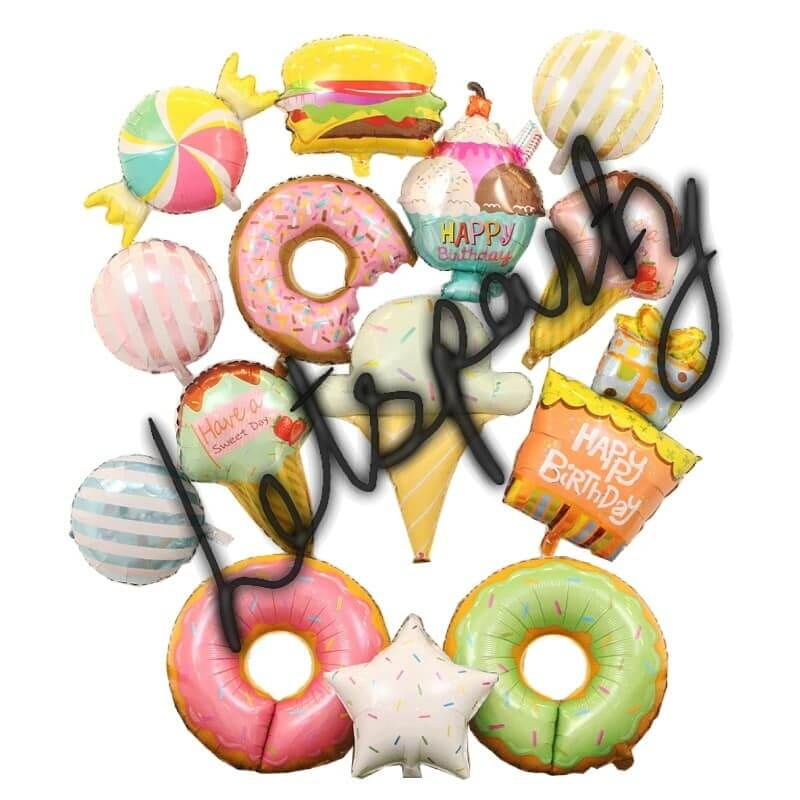 Candy,ice cream,lolipop,pizza,Doughnut foil balloon