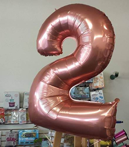 40 inch rose gold number foil balloon