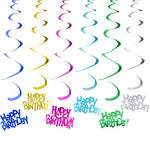 6pcs Happy Birthday Dizzy Danglers Party Swirl Spiral Hanging Pendants