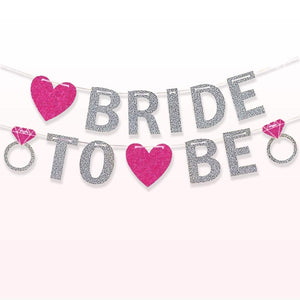 Bride to be banner -silver+ pink