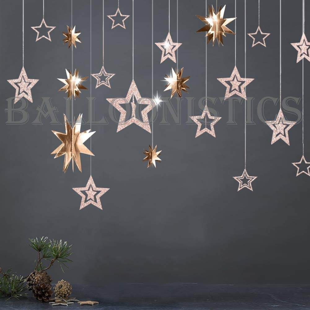 rose gold 3d star hanging kit