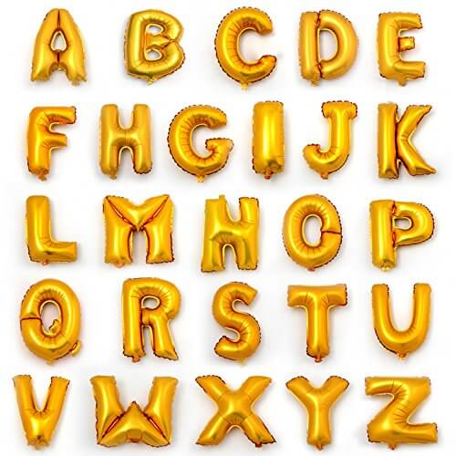 BIG GOLDEN ALPHABET OR NUMBER  FOIL BALLOON 32 INCHES