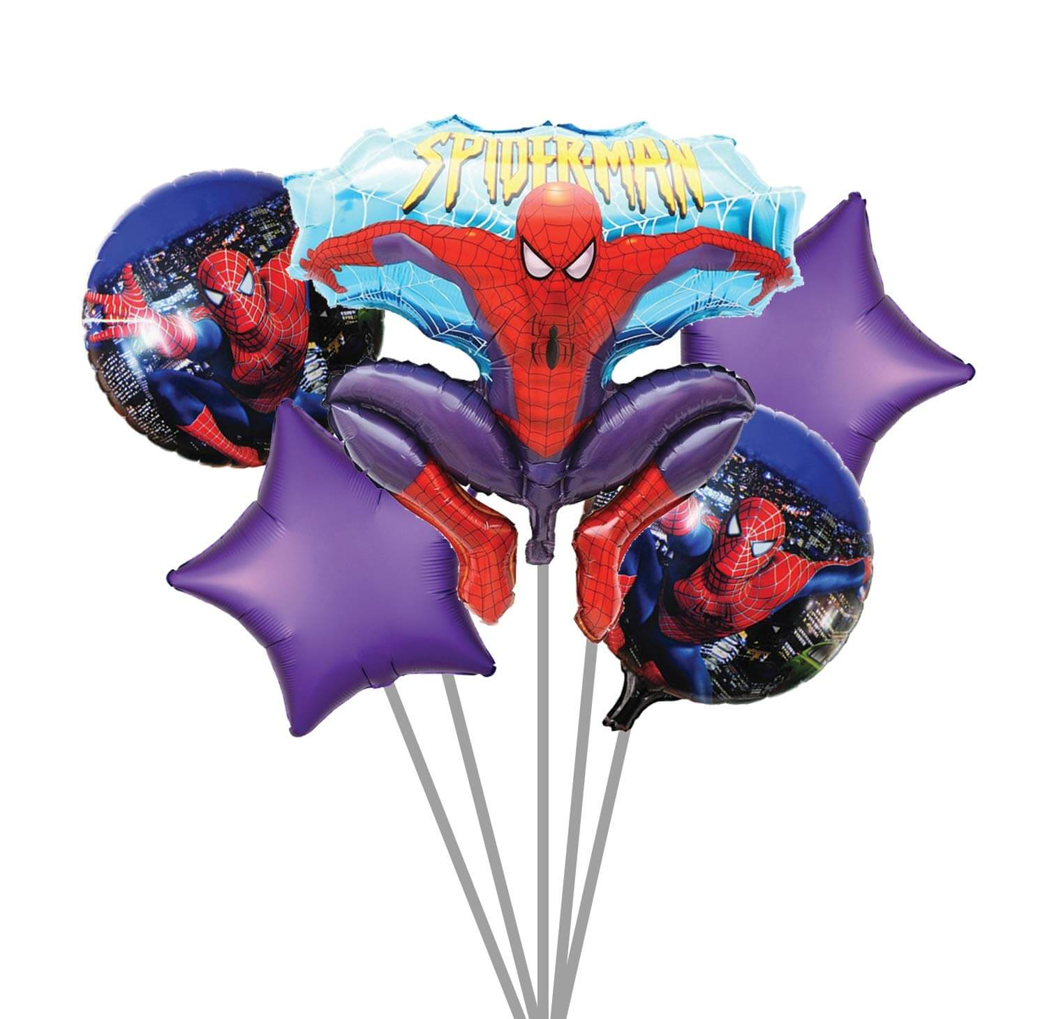 spider man set 5pc theme foil balloon