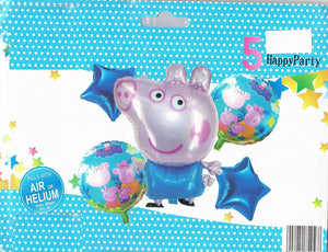 Peppa Pig theme balloon set of 5 different balloons