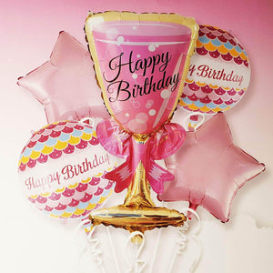 Wine glass Happy birthday set of 5pc