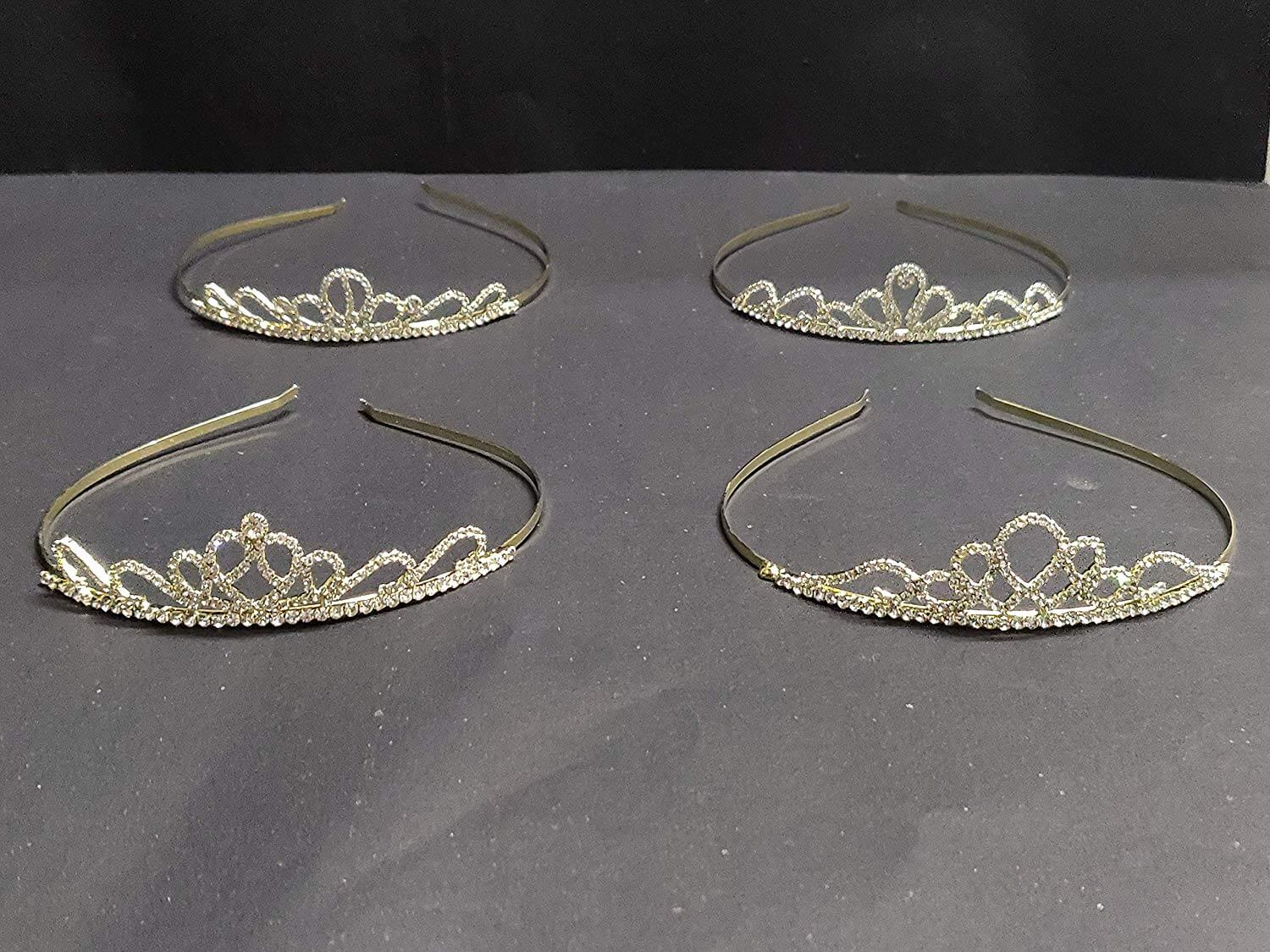 Golden Wonderful Studded Shimmering Stone Classy Trendy Crown- 1 pc
