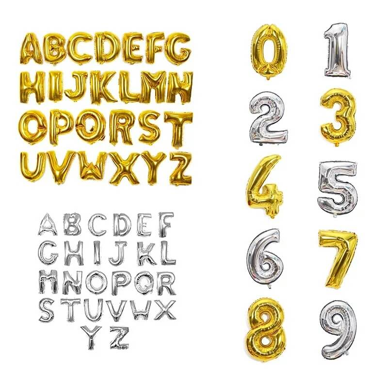 GOLDEN Alphabets and Number Foil Balloon 16 inches