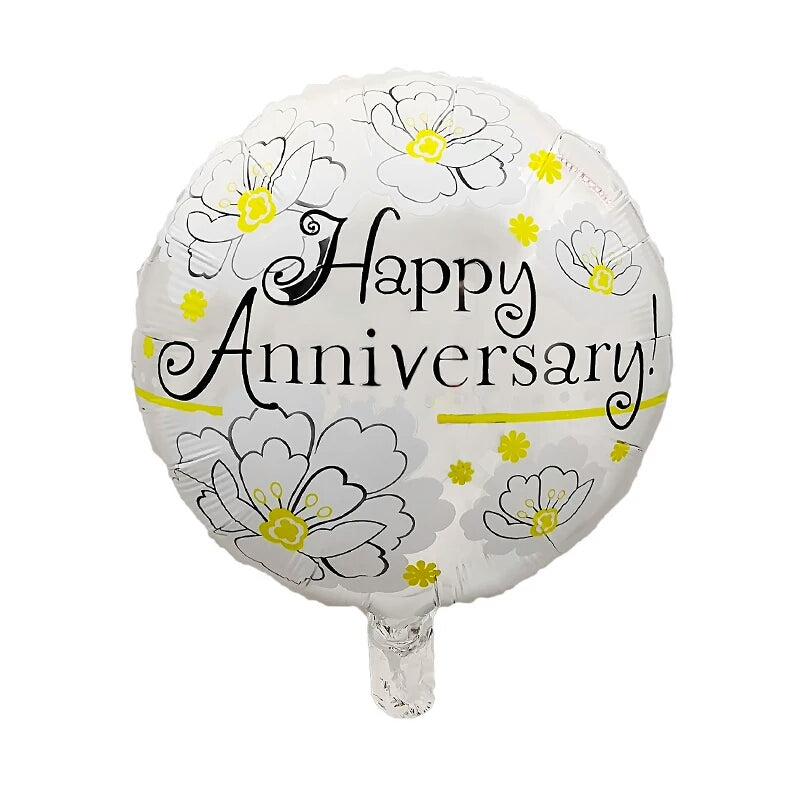 Happy anniversary round foil balloon