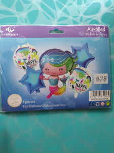 Mermaid theme balloons set of 5pc