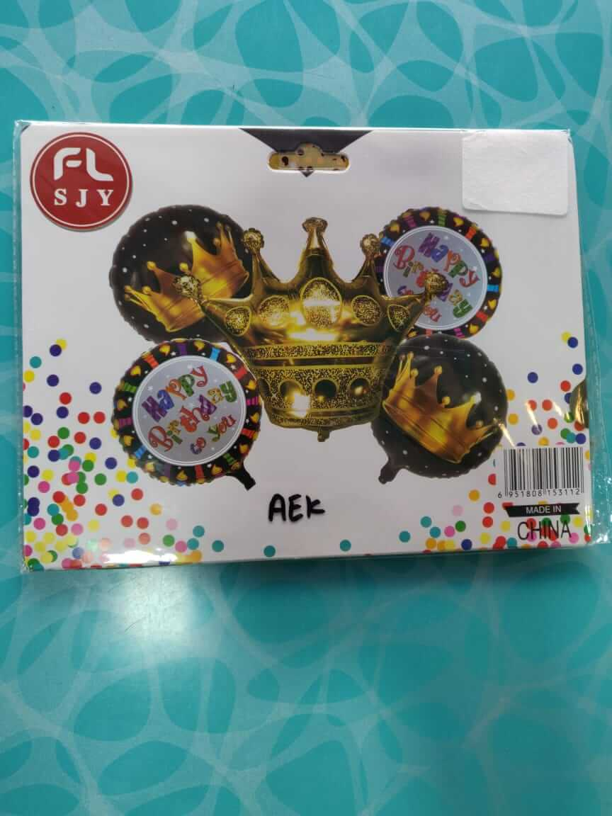 Crown foil balloon set 5pc