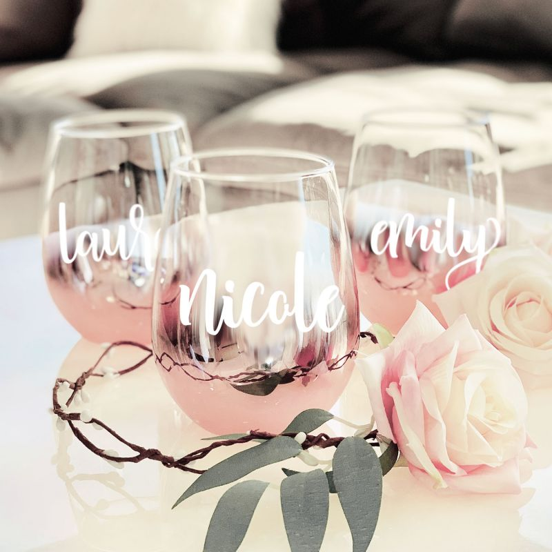 Personalized Stemless Rose Gold