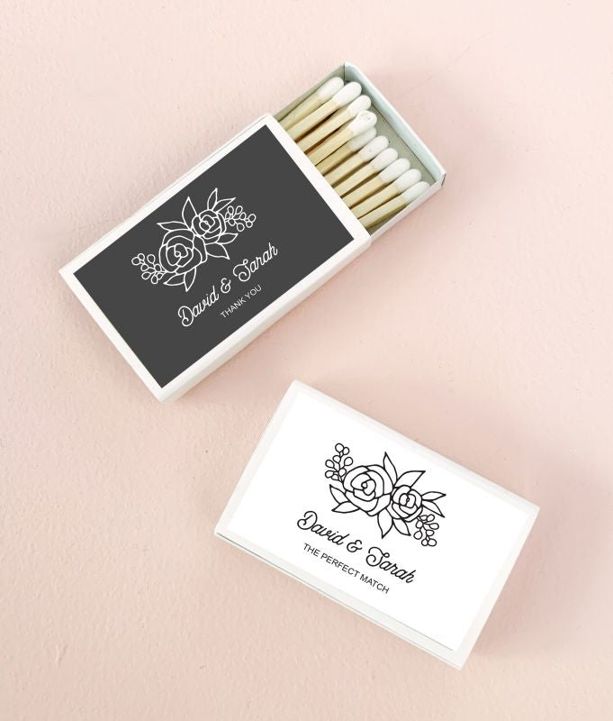 Floral Silhouette Matches (set of 50)