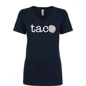 Ladies V-Neck TACO Tortilla Parody T-Shirt - white letters