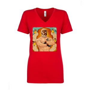 Ladies V-Neck Granny's Luchador Parody T-Shirt