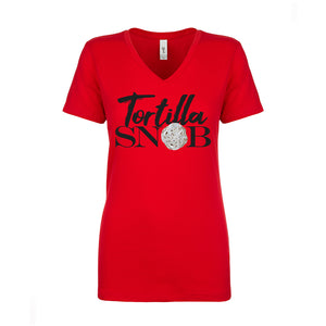 Ladies V-Neck Tortilla SNOB Parody T-Shirt