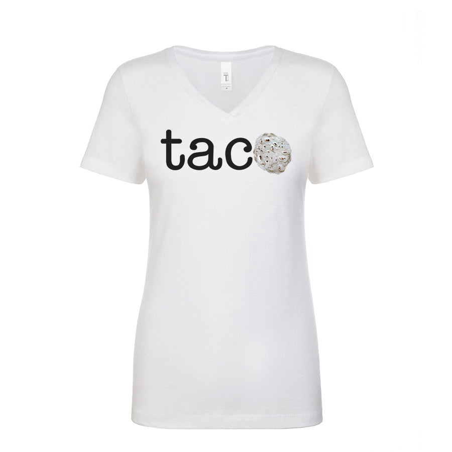 Ladies V-Neck TACO Tortilla Parody T-Shirt