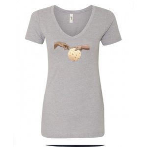 Ladies V-Neck Tshirt - Tortilla Hands