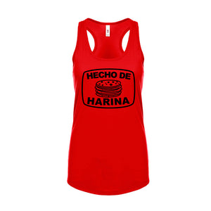 Ladies Hecho De Harina (Made with Flour) Tank T-Shirt - Black Design