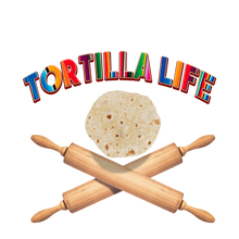 "Load image into Gallery viewer, Girl's ""Tortilla Life"" Basic Crew Neck T-Shirt - Serape Lettering"