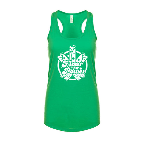 Ladies Flour Power Racerback T-Shirt Tank - White Design