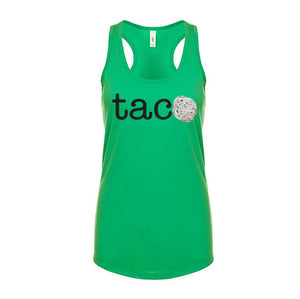 Ladies TACO Tortilla Racerback Tank Top - Black Letters