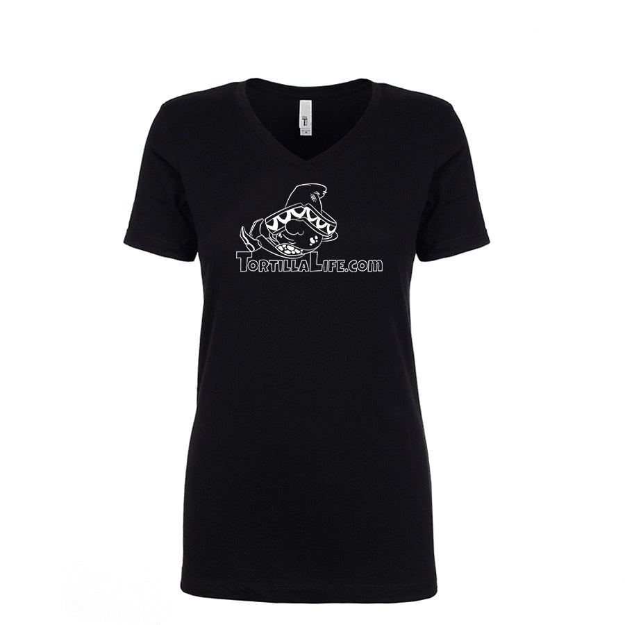 Ladies V-Neck Tortilla Life Solid Logo - White