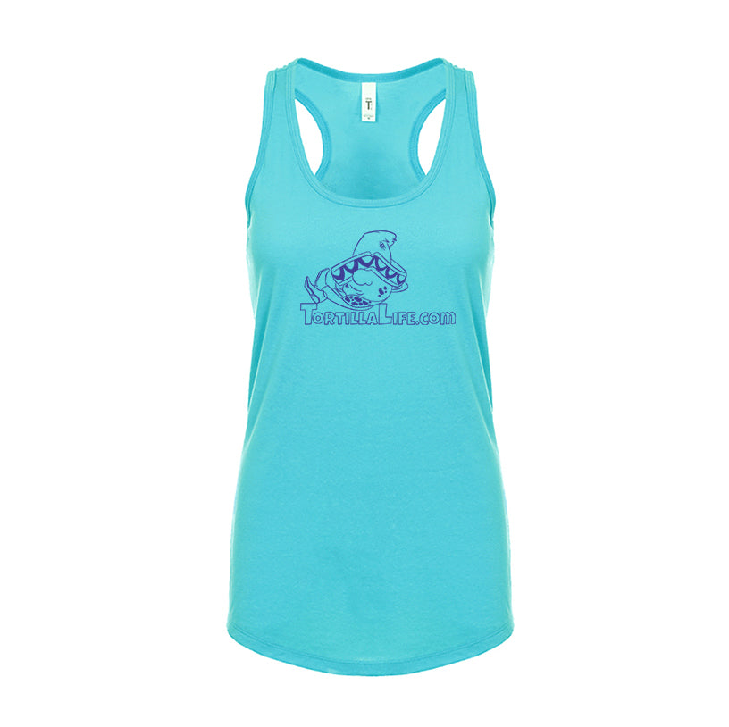 Ladies Solid Logo Racerback T-Shirt Tank - Blue