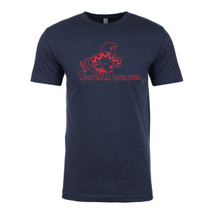 Midnight Blue Colored tee with Solid Red Logo Tortilla Life