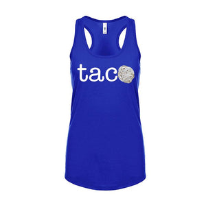 Ladies TACO Tortilla Racerback Tank Top - White Design