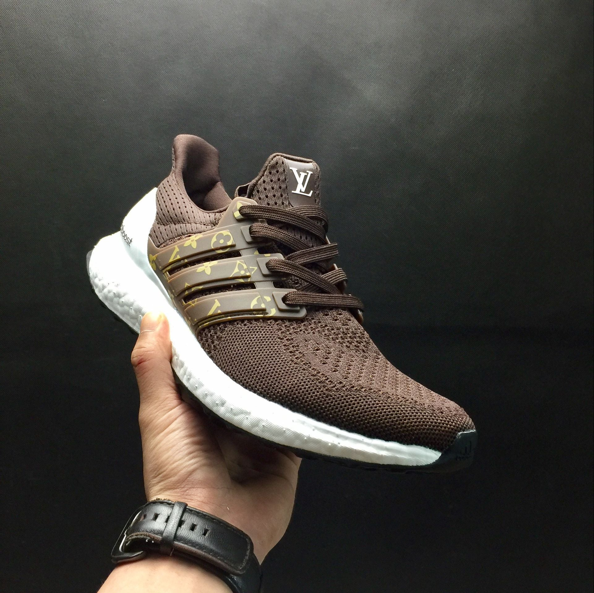 online store d8de9 61f7f Ultra Boost x Lv Brown White Custom - Luxury Store