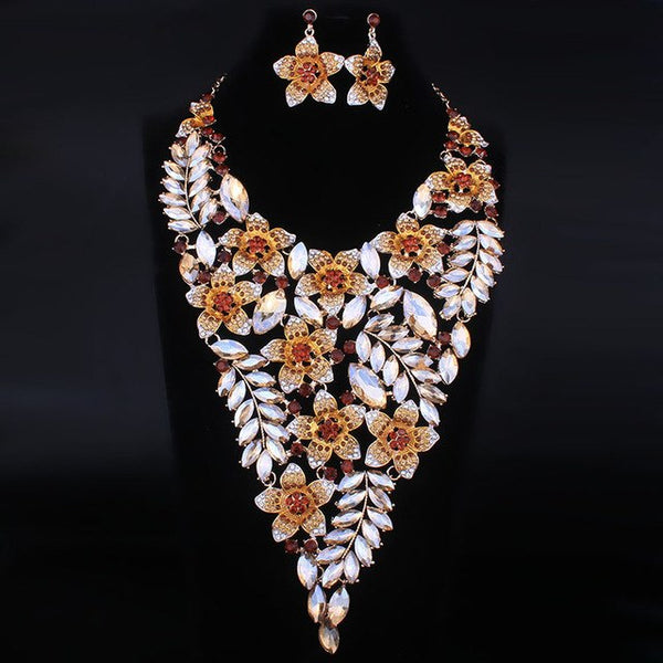 Luxury Exaggerated Flower Full Crystal Rhinestone Necklace Earrings Set
