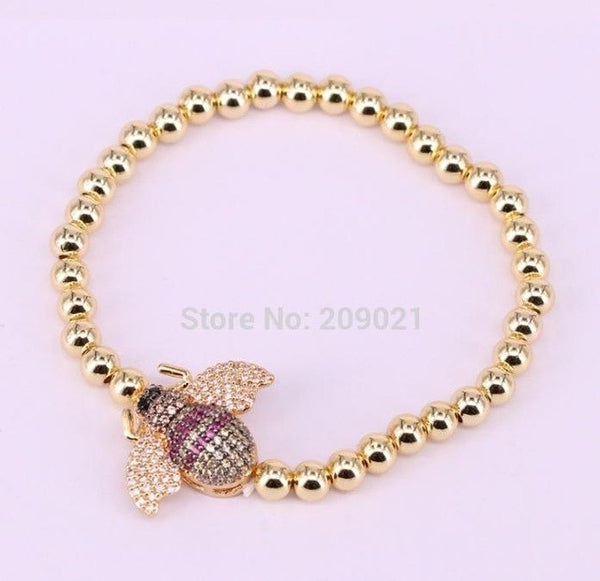 6Pcs Copper Round beaded bracelets with Pave cz insect Wholesale connector Bracelet Fashion Jewelry