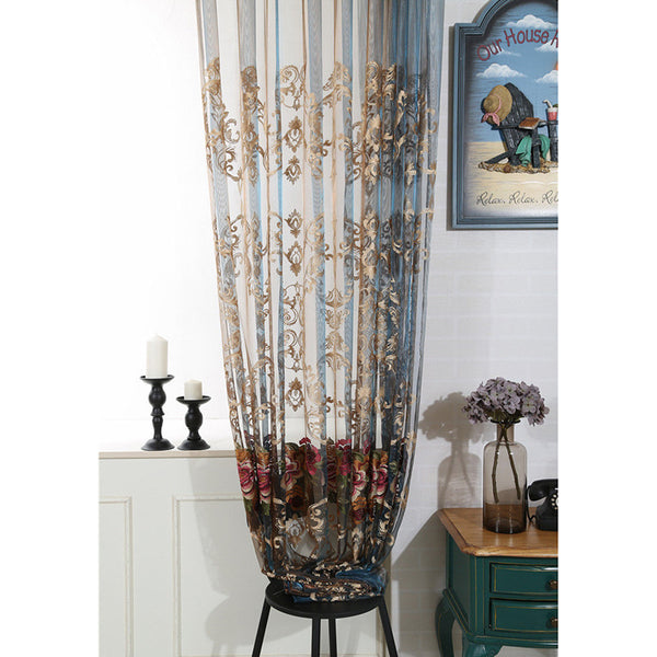 European Style Luxury Victorian Rose Embroidery Blue Sheer Net Curtain Window