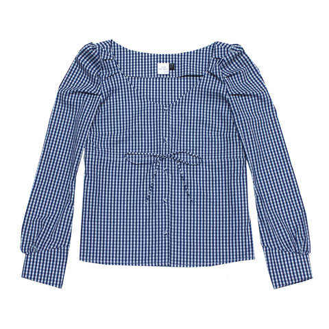 Ericka Blouse- Checked blue