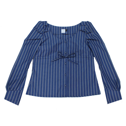 Ericka Blouse- Striped Large blue and black