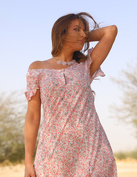 Floral pink Clouds Dress